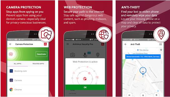 Avira Anti-theft and camera protection