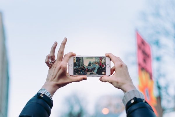 Video shooting during a protest with iPhone camera