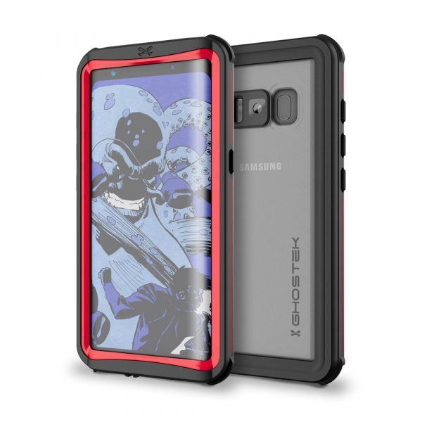 red ghostek nautical series waterproof case for samsung galaxy s8