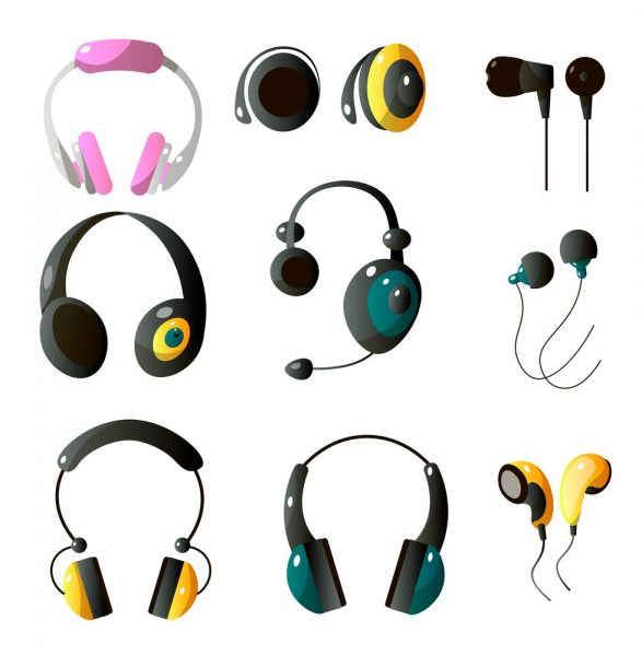 vector image of different types of wired and wireless headphones and earphones