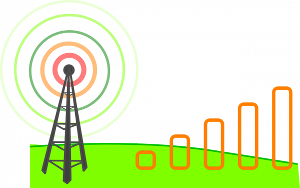 vector photo of a cell tower transmitting signals