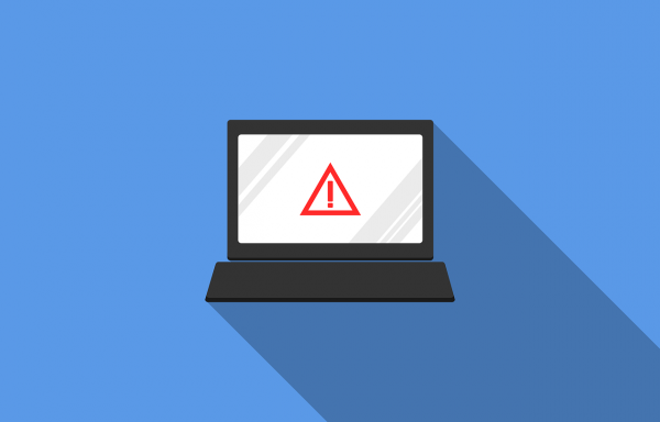 A graphic of a warning sign on the screen of a computer