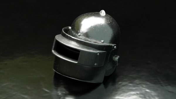 close-up photo of a helmet as seen on pubg mobile game