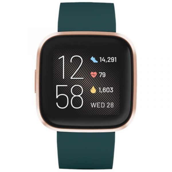 Fitbit Versa 2 with Green silicon strap and rose gold aluminium case.