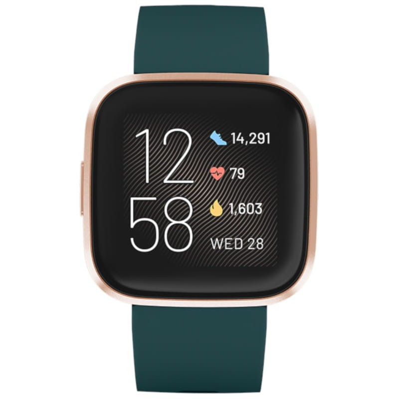 http://Fitbit%20Versa%202%20with%20Green%20silicon%20strap%20and%20rose%20gold%20aluminium%20case.