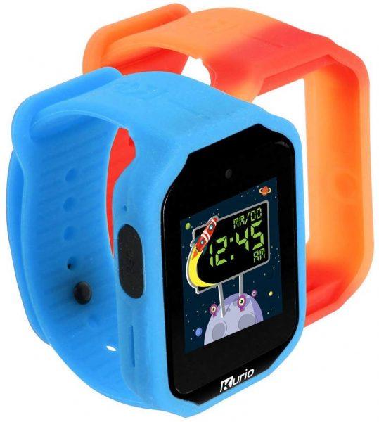 A blue smartwatch with orange extra strap.