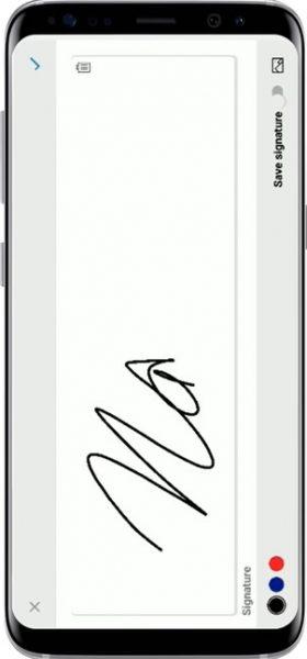 Microsoft Office e-signature feature on mobile.