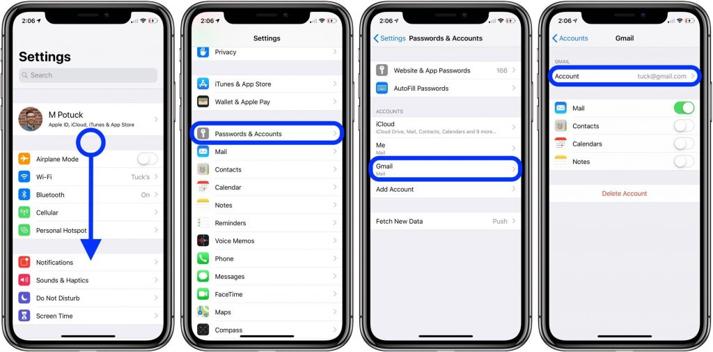 Sync iPhone Contacts Using Settings Function