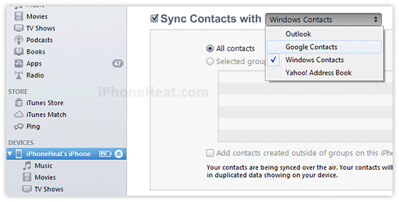 Sync iPhone Contacts With iTunes