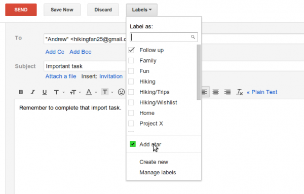 Add star to label and filter messages
