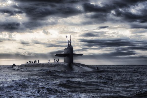HDR photo of submarine on the surface of the sea