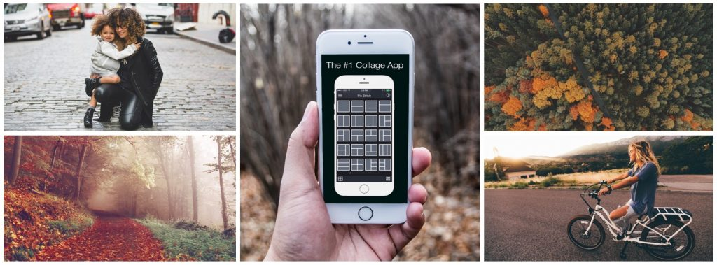 Collage of fall-themed images, featuring Pic Stitch interface on a phone photo collage apps
