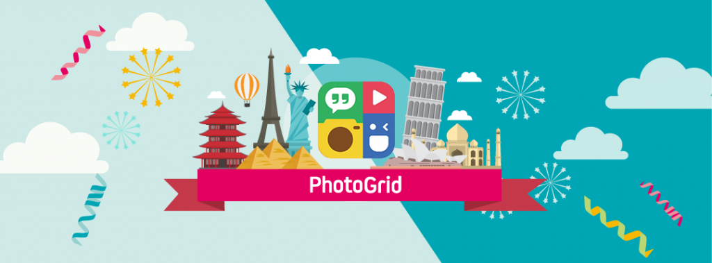 Graphics banner featuring PhotoGrid app's icon