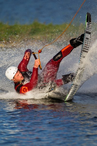 photo showing wakeboarder wiping out