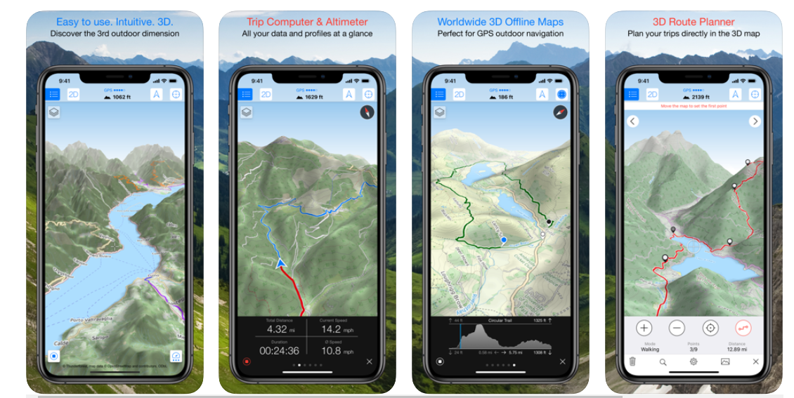 Four different dashboard screenshot of Maps 3D Pro hiking app