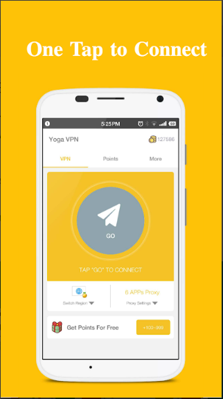 A mobile that display Yoga VPN dashboard