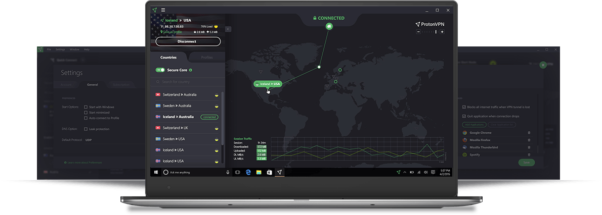 A desktop with ProtonVPN dashboard
