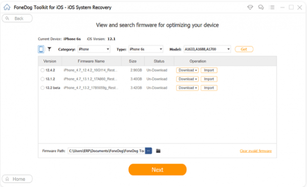 view and search firmware for optimizing and solving mobile data issues