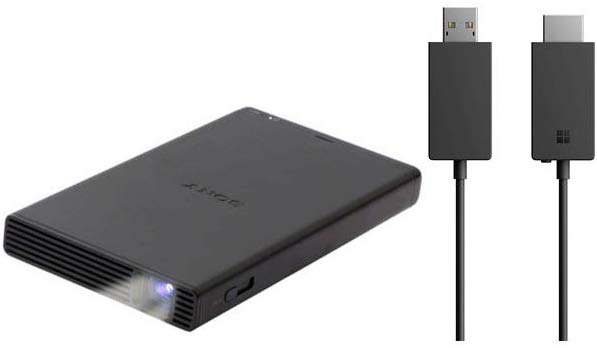 The Sony MP-CD1 smartphone projector has multiple ports