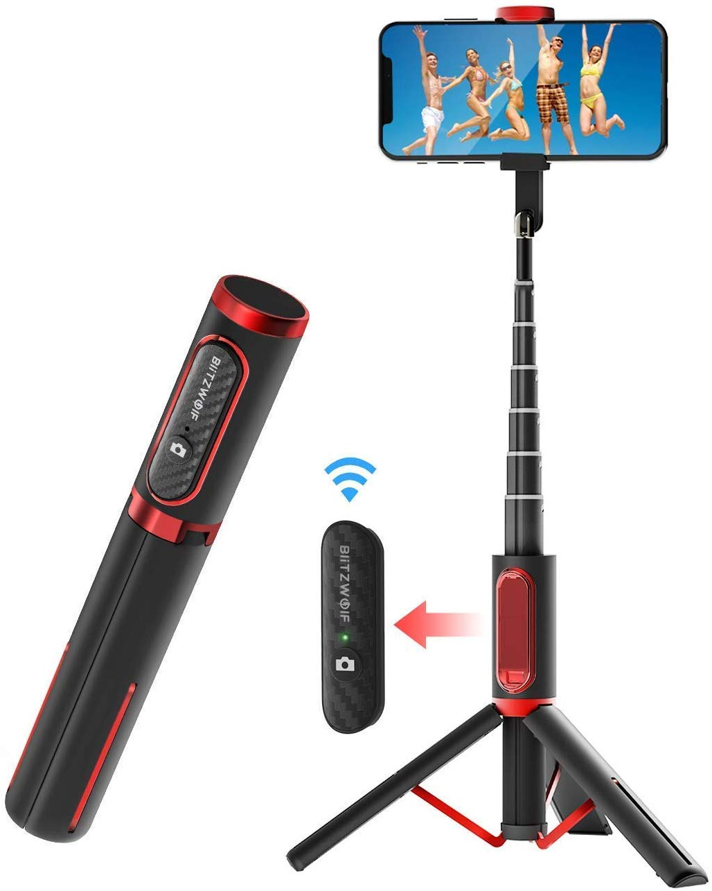http://BlitzWolf's%20all%20in%20one%20selfie%20tripod%20in%20a%20black%20and%20red%20color