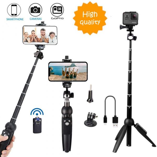 Bluehorn's selfie stickcan work with phones, cameras, and GoPro devices