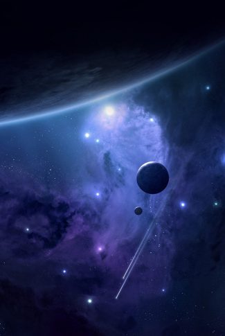 02 planets and shooting stars in the galaxy wallpaper