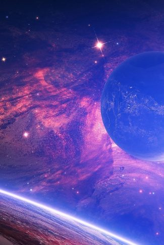 07 planets and the galaxy in neon wallpaper