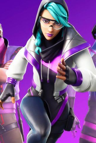 An awesome female Fortnite character wallpaper in a violet background.