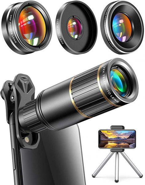 Interchangeable camera lens with wide angel, fish eye and colored filter lenses