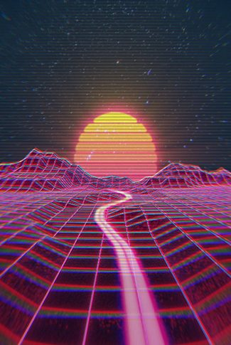 Cool glitch type sunset background.