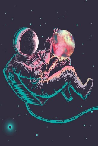 Cool and colorful astronaut wallpaper.