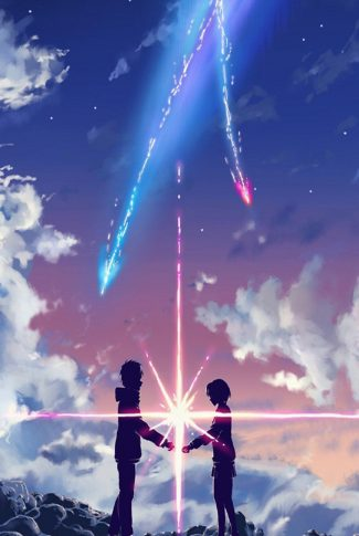 Cool, amazing, and artsy wallpaper of anime couple in rich blue sky.