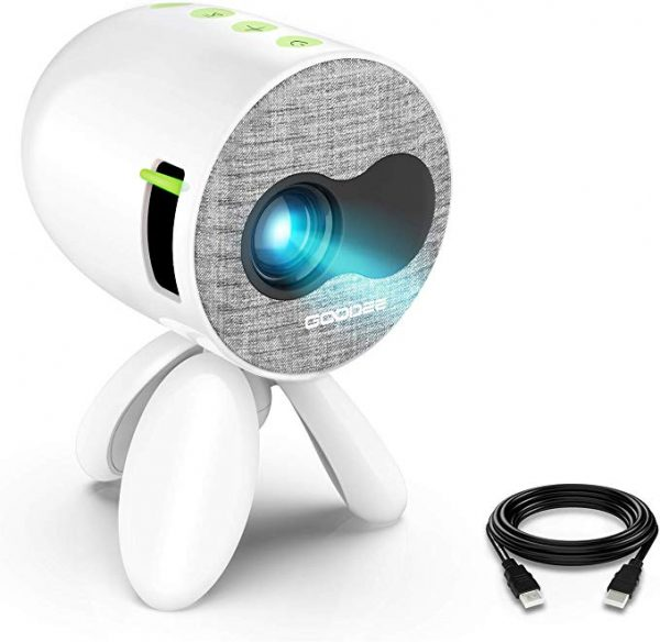 GooDee portable projector compatible with USB, HDMI
