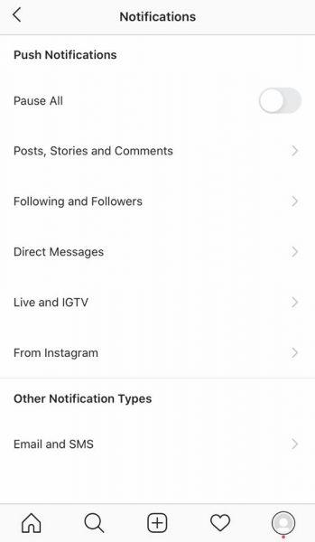 Instagram的通知设置