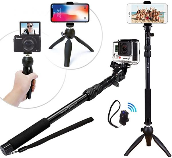 Rugged Selfie Stick with detachable tripod