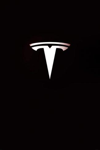 Sleek and modern take on Tesla car logo in a classic black background.