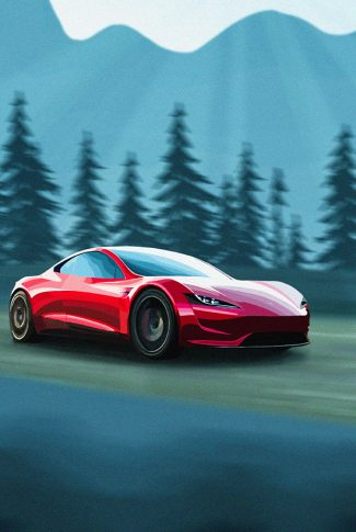 Smooth and fine quality red Tesla car art in mountain background.