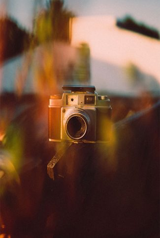 Cool and classy aesthetic shot of a vintage camera.