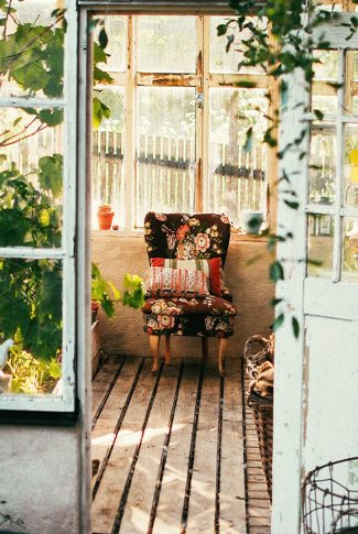 Nice and comfy, vintage chair in a small farmhouse.