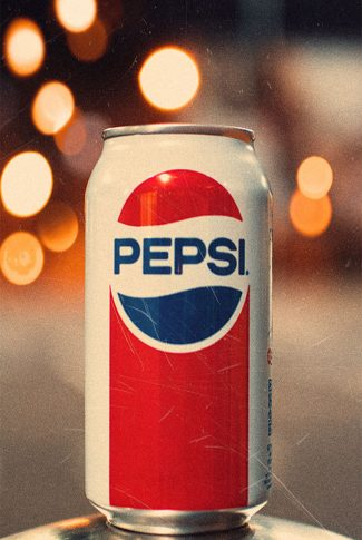 Nice and simple shot of a vintage Pepsi can in red and blue.