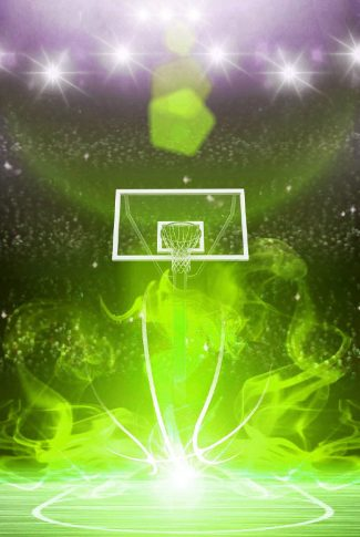 Nice and smooth graphic art of a basketball court in green flames.