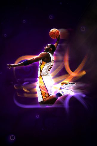 Cool and awesome graphic of Kobe Bryant dunk shot.