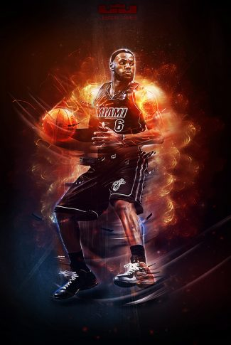 Nice and cool graphic art of Lebron James in flames.