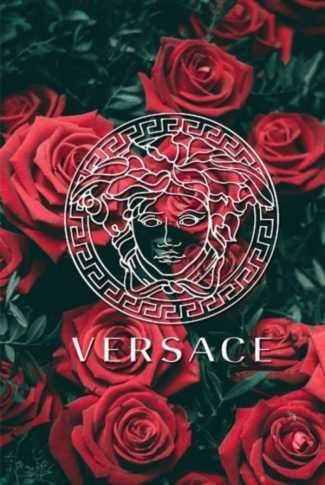 Sweet Versace wallpaper with rich, red roses in the background.