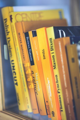 An old yellow books in a yellow bookstore somewhere downtown.