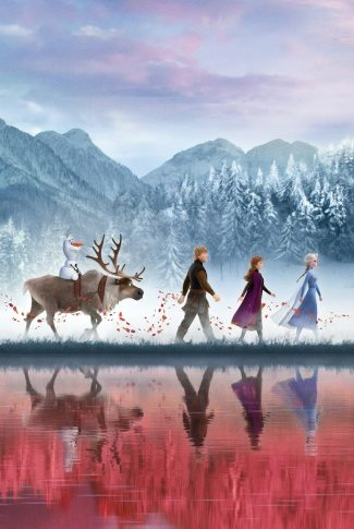 A Frozen 2 wallpaper with all of the movie characters walking in a line on a snowy scenery.