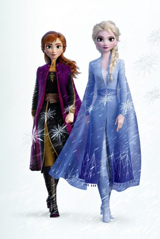 A Frozen 2 wallpaper stylized in a classic portrait of sisters, Elsa and Anna.