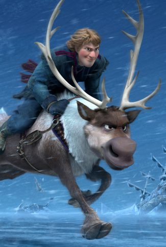 A Frozen 2 wallpaper of Kristoff and Sven in a somewhat determined ride.