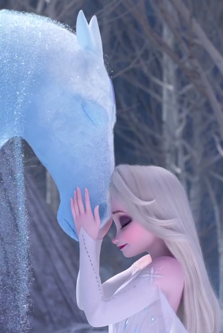 A Frozen 2 wallpaper of Nokk, the guardian of the Dark Sea, and Elsa sharing a sentimental moment.