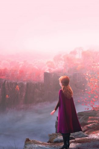 A Frozen 2 wallpaper of Anna looking over a foggy, beautiful landscape from a cliff.